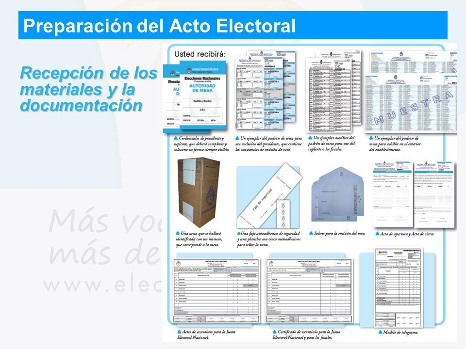 Preparación del Acto Electoral Recepción de los materiales y la documentación