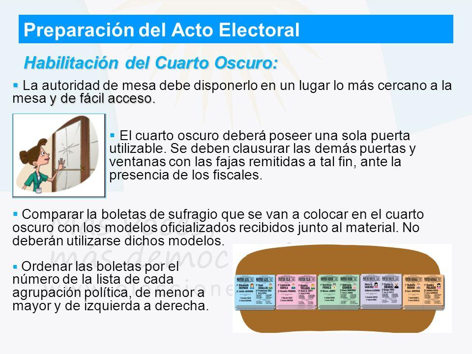 Preparación del Acto Electoral Habilitación del Cuarto Oscuro: y de fácil acceso. La autoridad de mesa debe disponerlo en un lugar lo más cercano a la