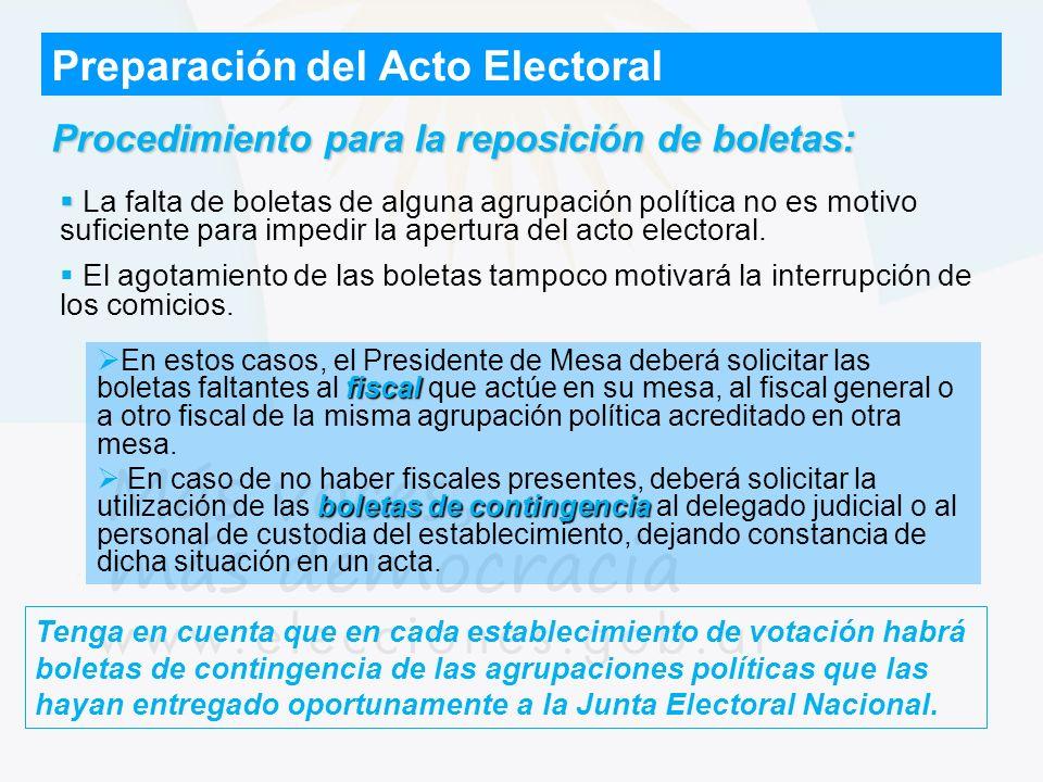 Preparación del Acto Electoral Procedimiento para la reposición de boletas: La falta de boletas de alguna agrupación política no es motivo suficiente