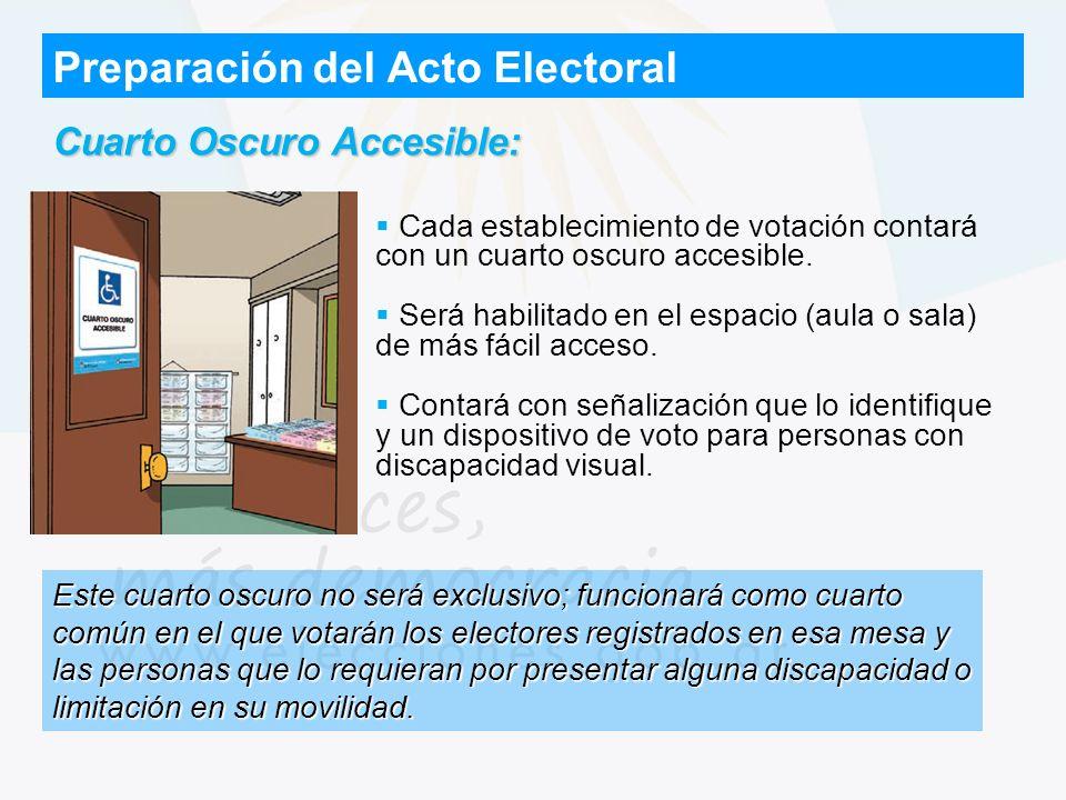 Preparación del Acto Electoral Cuarto Oscuro Accesible: Cada establecimiento de votación contará con un cuarto oscuro accesible. Será habilitado en el