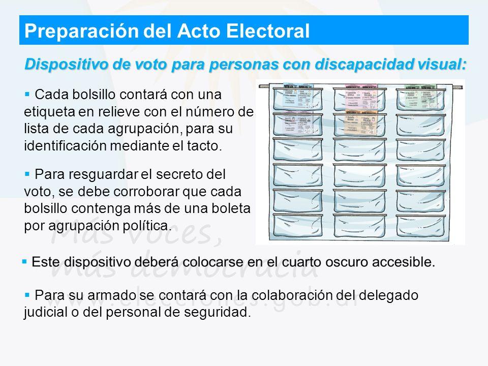 Preparación del Acto Electoral Dispositivo de voto para personas con discapacidad visual: Cada bolsillo contará con una etiqueta en relieve con el núm
