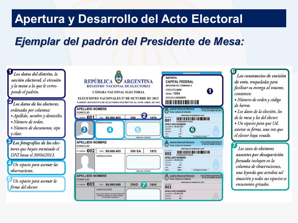 Apertura y Desarrollo del Acto Electoral Ejemplar del padrón del Presidente de Mesa: