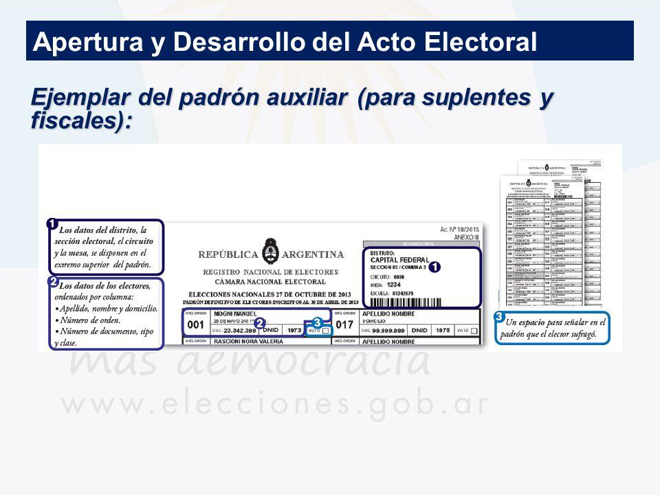 Apertura y Desarrollo del Acto Electoral Ejemplar del padrón auxiliar (para suplentes y fiscales):
