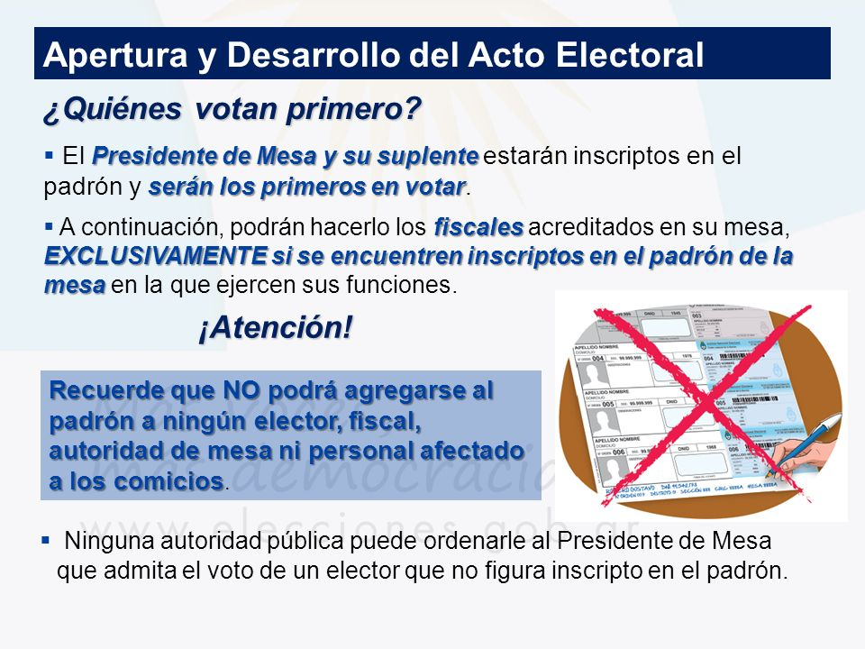 ¿Quiénes votan primero? Apertura y Desarrollo del Acto Electoral Presidente de Mesa y su suplente serán los primeros en votar El Presidente de Mesa y