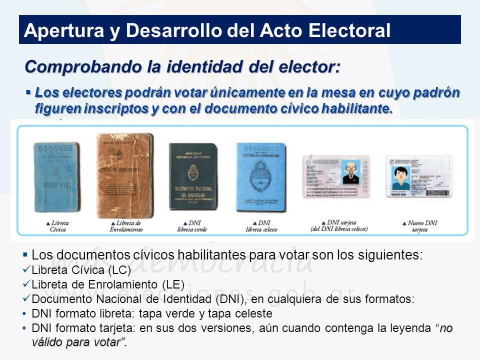 Comprobando la identidad del elector: Apertura y Desarrollo del Acto Electoral Documentos habilitados para votar Los electores podrán votar únicamente