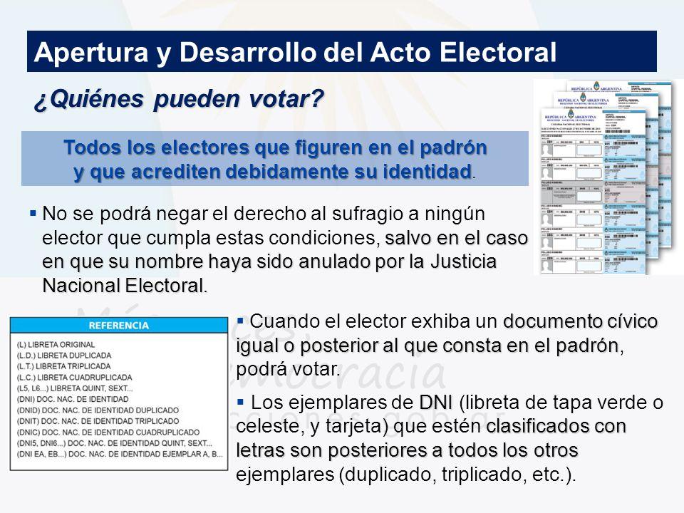 ¿Quiénes pueden votar? Apertura y Desarrollo del Acto Electoral Todos los electores que figuren en el padrón y que acrediten debidamente su identidad
