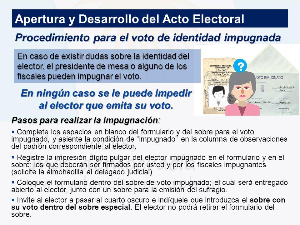 Procedimiento para el voto de identidad impugnada Pasos para realizar la impugnación: Complete los espacios en blanco del formulario y del sobre para