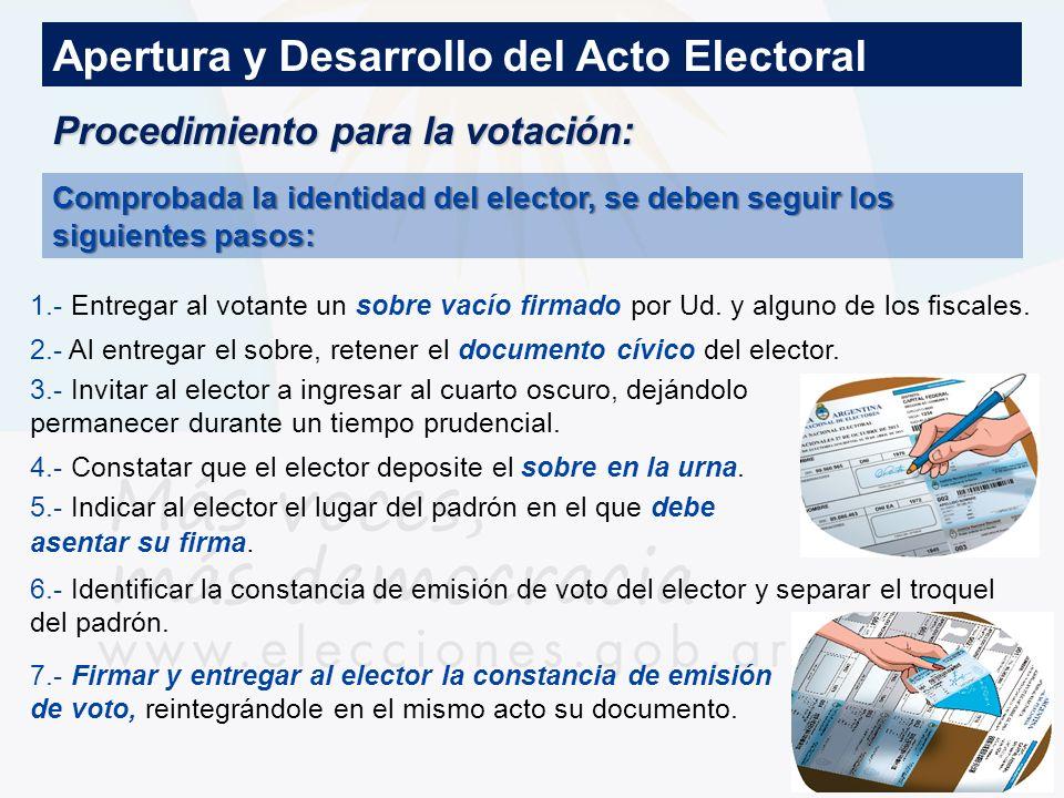 Procedimiento para la votación: Apertura y Desarrollo del Acto Electoral Comprobada la identidad del elector, se deben seguir los siguientes pasos: 1.