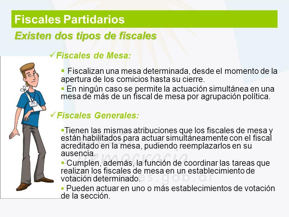 Fiscales Partidarios Existen dos tipos de fiscales Fiscalizan una mesa determinada, desde el momento de la apertura de los comicios hasta su cierre. E