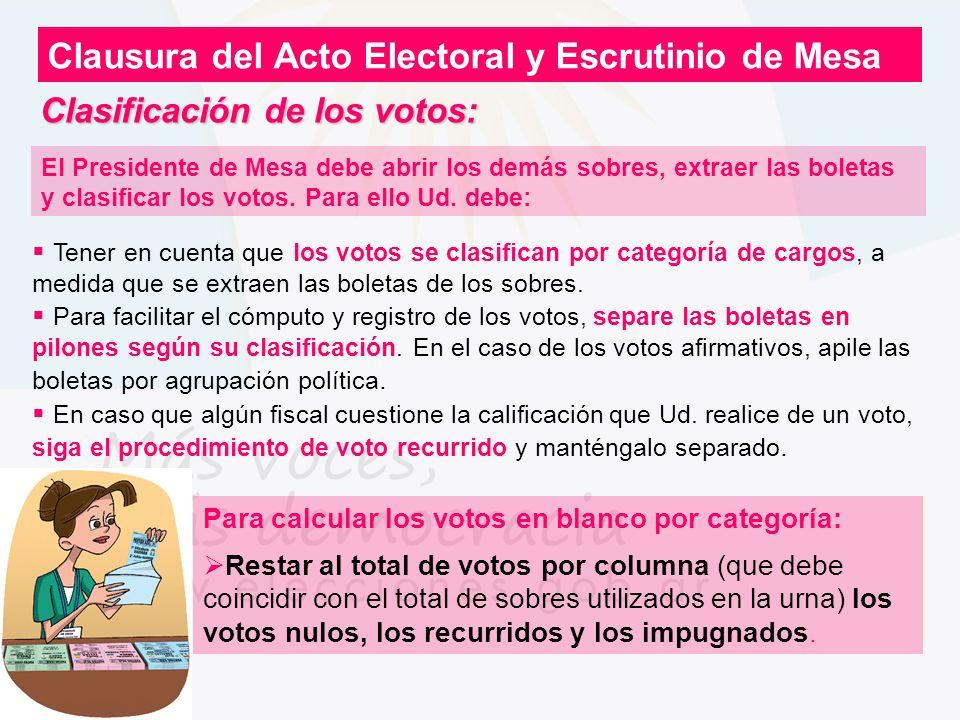 Clasificación de los votos: Clausura del Acto Electoral y Escrutinio de Mesa Para calcular los votos en blanco por categoría: Restar al total de votos