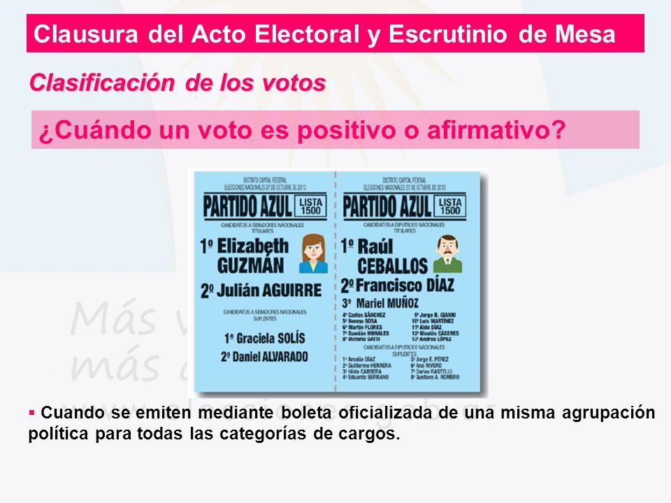 Clausura del Acto Electoral y Escrutinio de Mesa ¿Cuándo un voto es positivo o afirmativo? Cuando se emiten mediante boleta oficializada de una misma