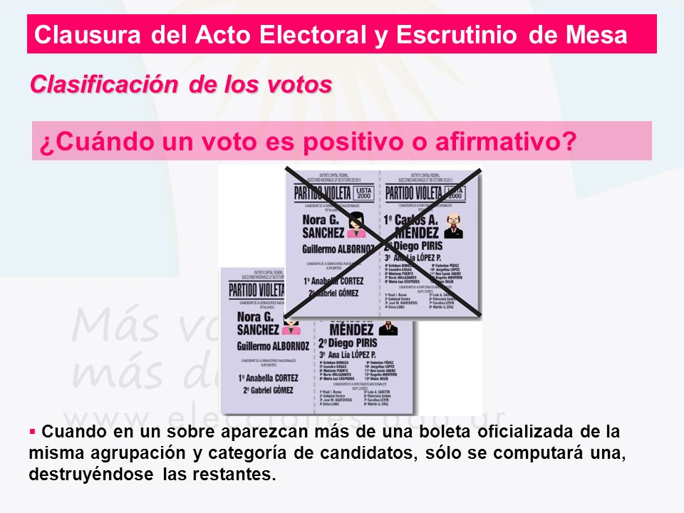 Clausura del Acto Electoral y Escrutinio de Mesa ¿Cuándo un voto es positivo o afirmativo? Cuando en un sobre aparezcan más de una boleta oficializada