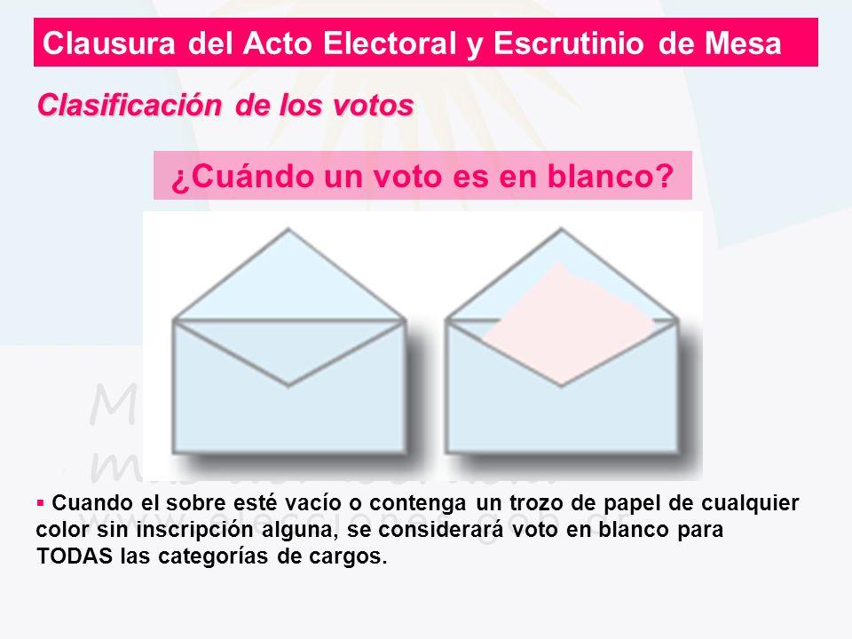 Clausura del Acto Electoral y Escrutinio de Mesa ¿Cuándo un voto es en blanco? Cuando el sobre esté vacío o contenga un trozo de papel de cualquier co