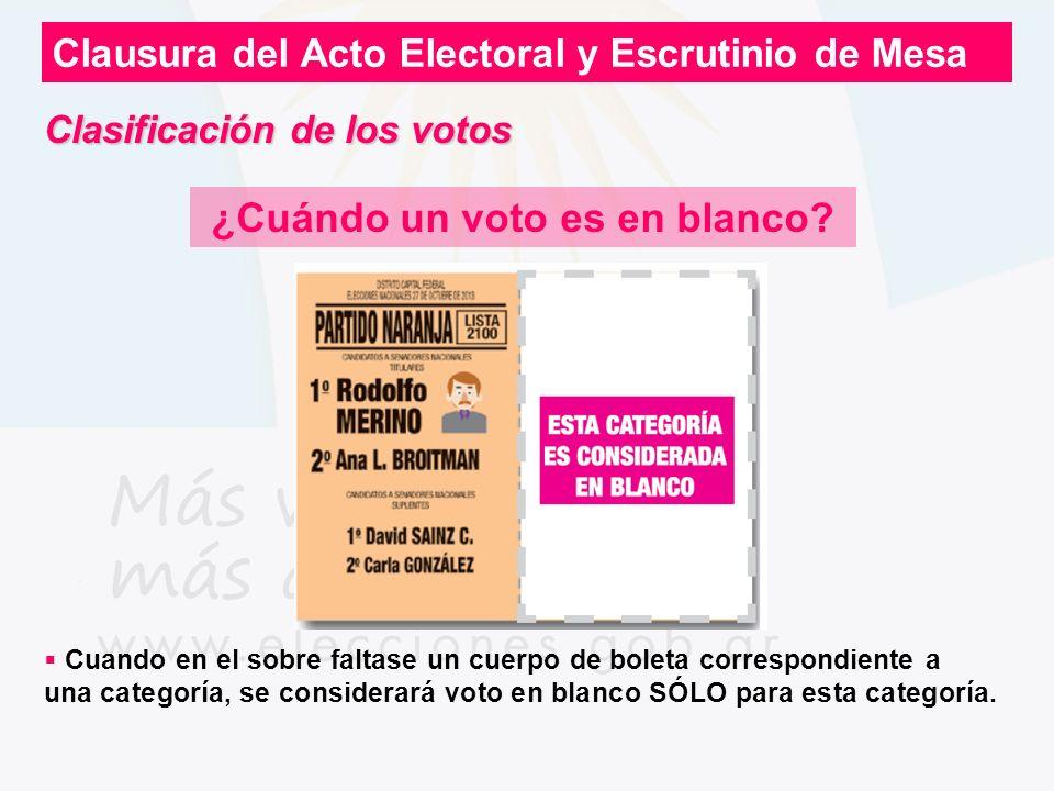 Clausura del Acto Electoral y Escrutinio de Mesa ¿Cuándo un voto es en blanco? Cuando en el sobre faltase un cuerpo de boleta correspondiente a una ca
