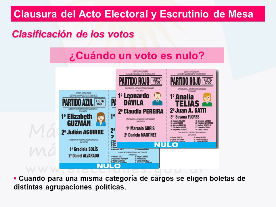 Clausura del Acto Electoral y Escrutinio de Mesa ¿Cuándo un voto es nulo? Cuando para una misma categoría de cargos se eligen boletas de distintas agr