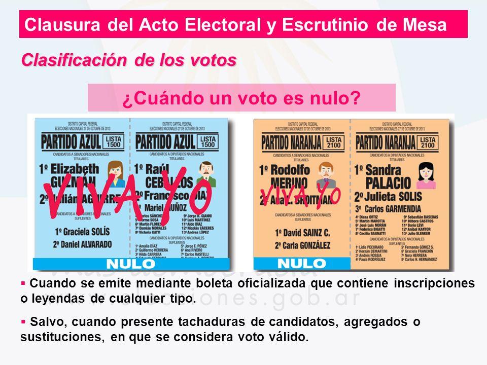 Clausura del Acto Electoral y Escrutinio de Mesa ¿Cuándo un voto es nulo? Cuando se emite mediante boleta oficializada que contiene inscripciones o le