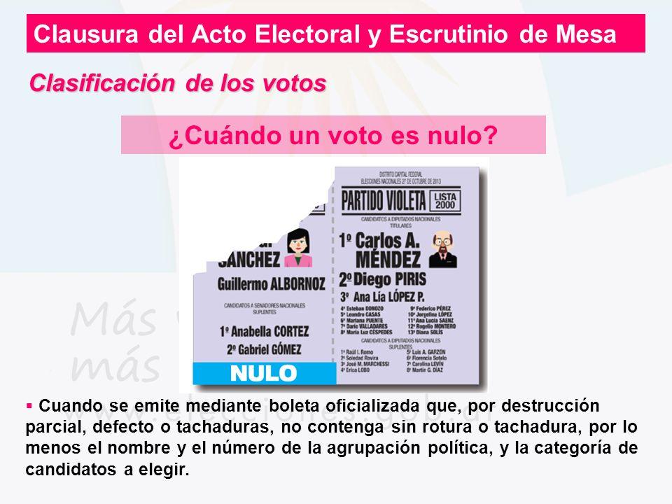 Clausura del Acto Electoral y Escrutinio de Mesa ¿Cuándo un voto es nulo? Cuando se emite mediante boleta oficializada que, por destrucción parcial, d