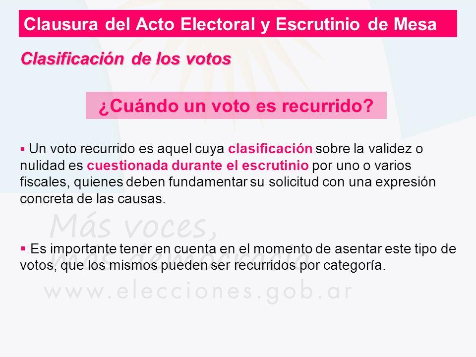 Clausura del Acto Electoral y Escrutinio de Mesa ¿Cuándo un voto es recurrido? Un voto recurrido es aquel cuya clasificación sobre la validez o nulida