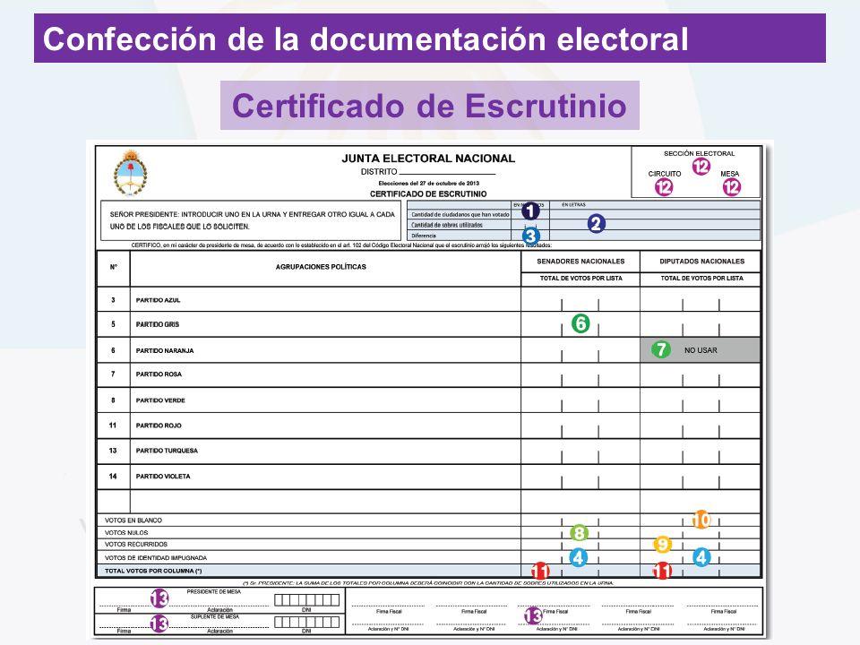 Confección de la documentación electoral Certificado de Escrutinio