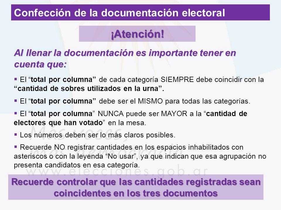 Confección de la documentación electoral ¡Atención! Al llenar la documentación es importante tener en cuenta que: El total por columna de cada categor