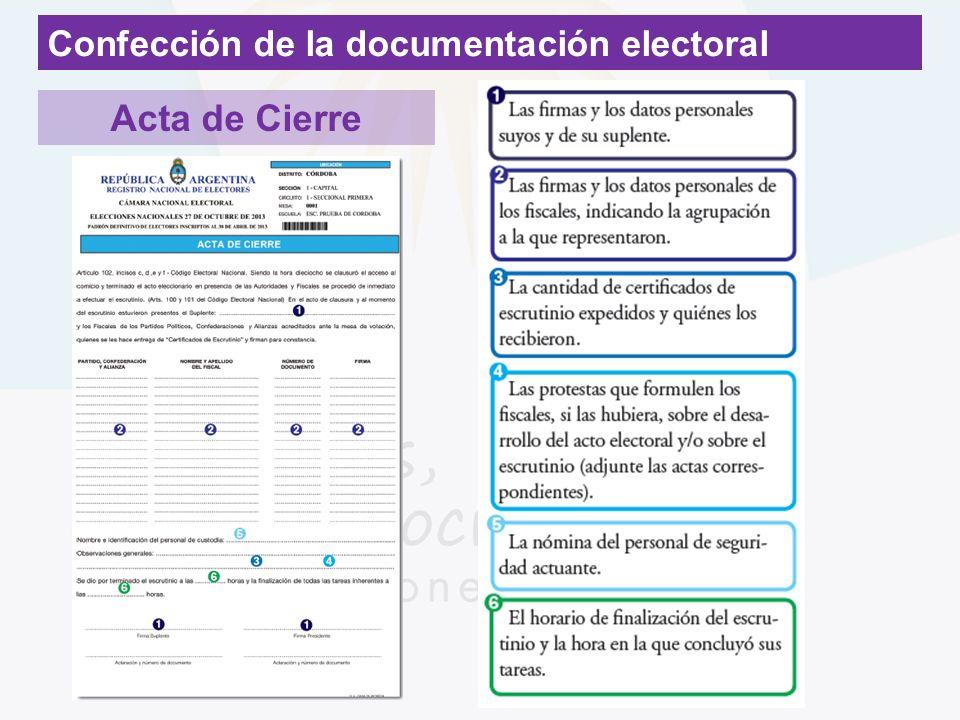 Confección de la documentación electoral Acta de Cierre