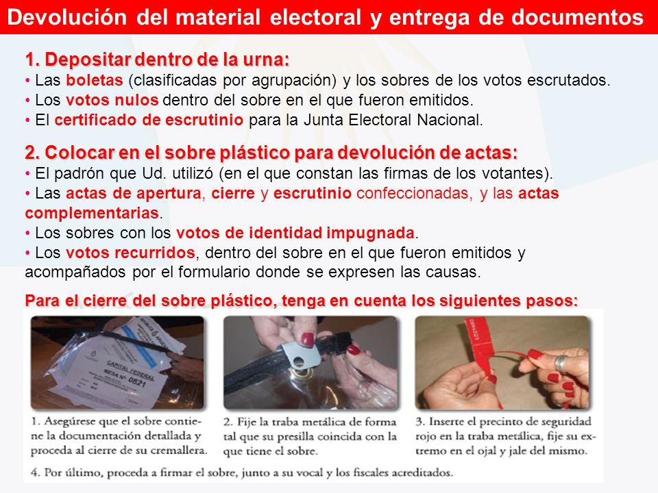 Devolución del material electoral y entrega de documentos 1. Depositar dentro de la urna: Las boletas (clasificadas por agrupación) y los sobres de lo
