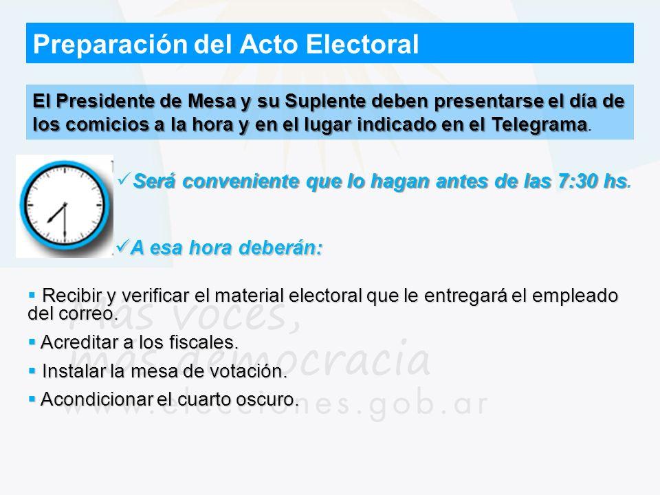 Preparación del Acto Electoral El Presidente de Mesa y su Suplente deben presentarse el día de los comicios a la hora y en el lugar indicado en el Tel