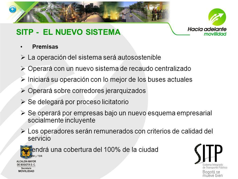 SITP - EL NUEVO SISTEMA Premisas La operación del sistema será autosostenible Operará con un nuevo sistema de recaudo centralizado Iniciará su operaci
