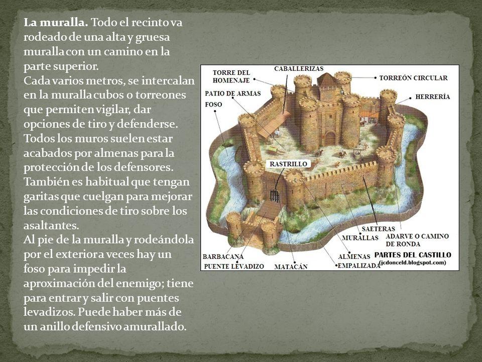 La muralla. Todo el recinto va rodeado de una alta y gruesa muralla con un camino en la parte superior. Cada varios metros, se intercalan en la murall