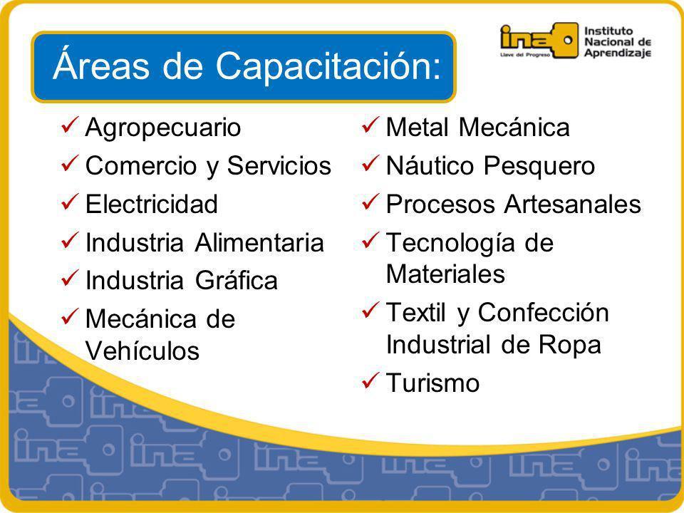 Áreas de Capacitación: Agropecuario Comercio y Servicios Electricidad Industria Alimentaria Industria Gráfica Mecánica de Vehículos Metal Mecánica Náutico Pesquero Procesos Artesanales Tecnología de Materiales Textil y Confección Industrial de Ropa Turismo