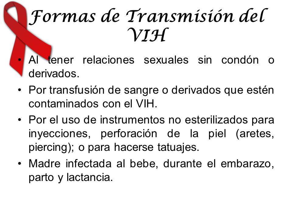 Formas de Transmisión del VIH Al tener relaciones sexuales sin condón o derivados. Por transfusión de sangre o derivados que estén contaminados con el