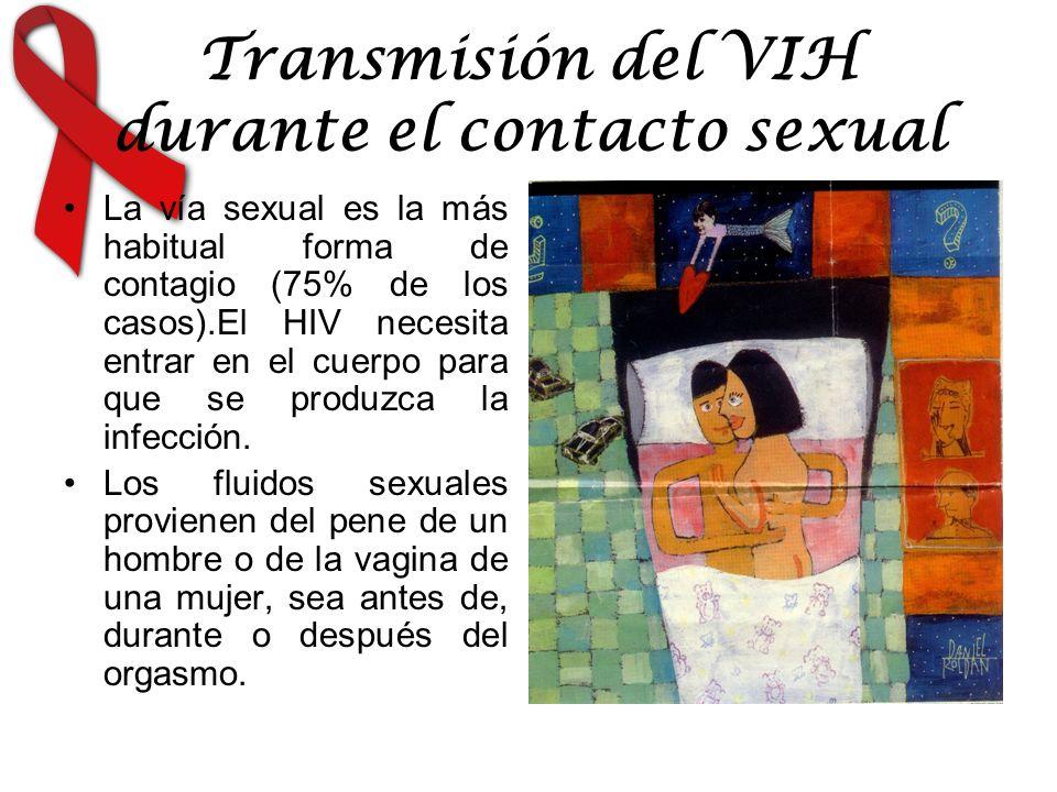 Transmisión del VIH durante el contacto sexual La vía sexual es la más habitual forma de contagio (75% de los casos).El HIV necesita entrar en el cuerpo para que se produzca la infección.