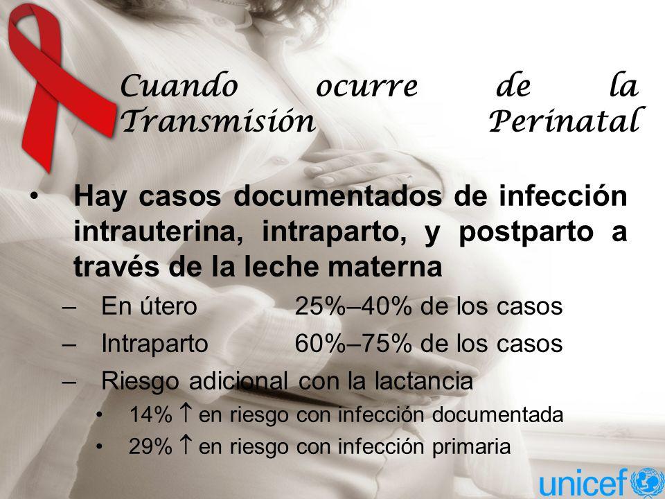Hay casos documentados de infección intrauterina, intraparto, y postparto a través de la leche materna –En útero 25%–40% de los casos –Intraparto60%–75% de los casos –Riesgo adicional con la lactancia 14% en riesgo con infección documentada 29% en riesgo con infección primaria Cuando ocurre de la Transmisión Perinatal