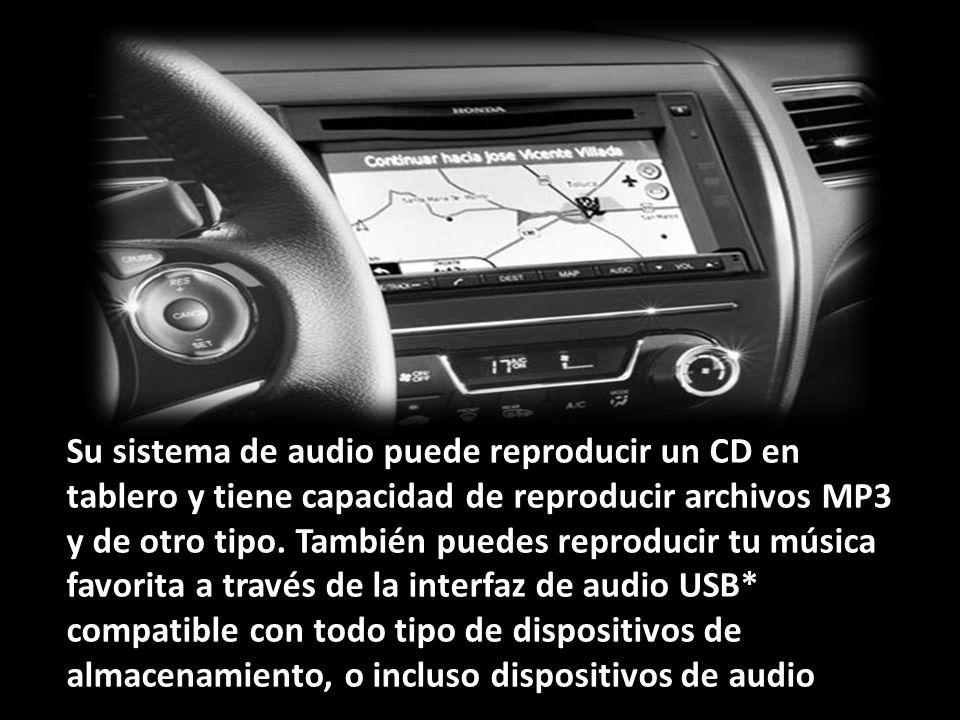Contagia la actitud Su sistema de audio puede reproducir un CD en tablero y tiene capacidad de reproducir archivos MP3 y de otro tipo.