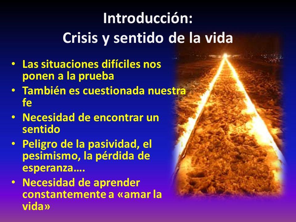 Introducción: Crisis y sentido de la vida Las situaciones difíciles nos ponen a la prueba También es cuestionada nuestra fe Necesidad de encontrar un