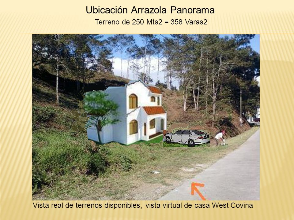 Ubicación Arrazola Panorama Terreno de 250 Mts2 = 358 Varas2 Vista real de terrenos disponibles, vista virtual de casa West Covina