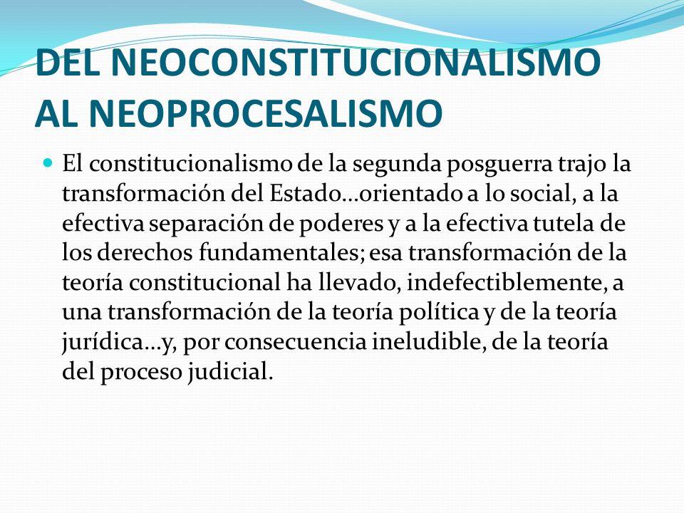 DEL NEOCONSTITUCIONALISMO AL NEOPROCESALISMO El constitucionalismo de la segunda posguerra trajo la transformación del Estado…orientado a lo social, a