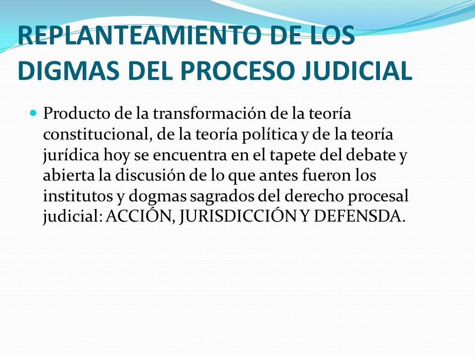 REPLANTEAMIENTO DE LOS DIGMAS DEL PROCESO JUDICIAL Producto de la transformación de la teoría constitucional, de la teoría política y de la teoría jur
