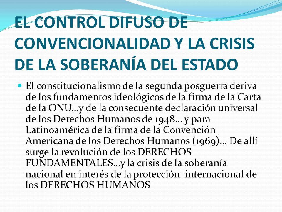 EL CONTROL DIFUSO DE CONVENCIONALIDAD Y LA CRISIS DE LA SOBERANÍA DEL ESTADO El constitucionalismo de la segunda posguerra deriva de los fundamentos i