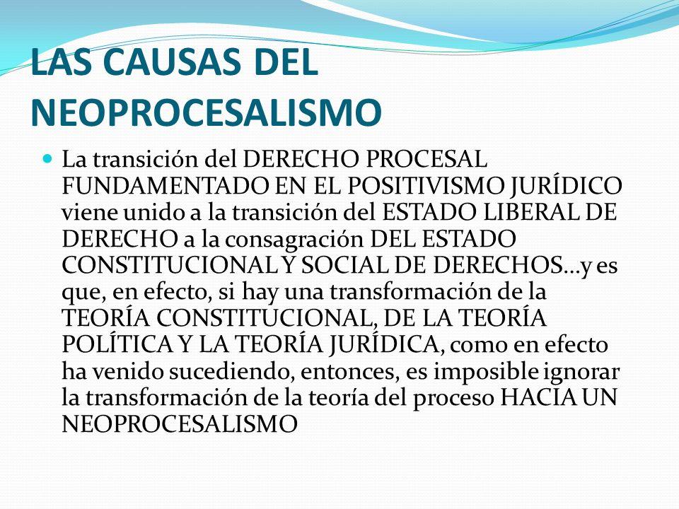 LAS CAUSAS DEL NEOPROCESALISMO La transición del DERECHO PROCESAL FUNDAMENTADO EN EL POSITIVISMO JURÍDICO viene unido a la transición del ESTADO LIBER