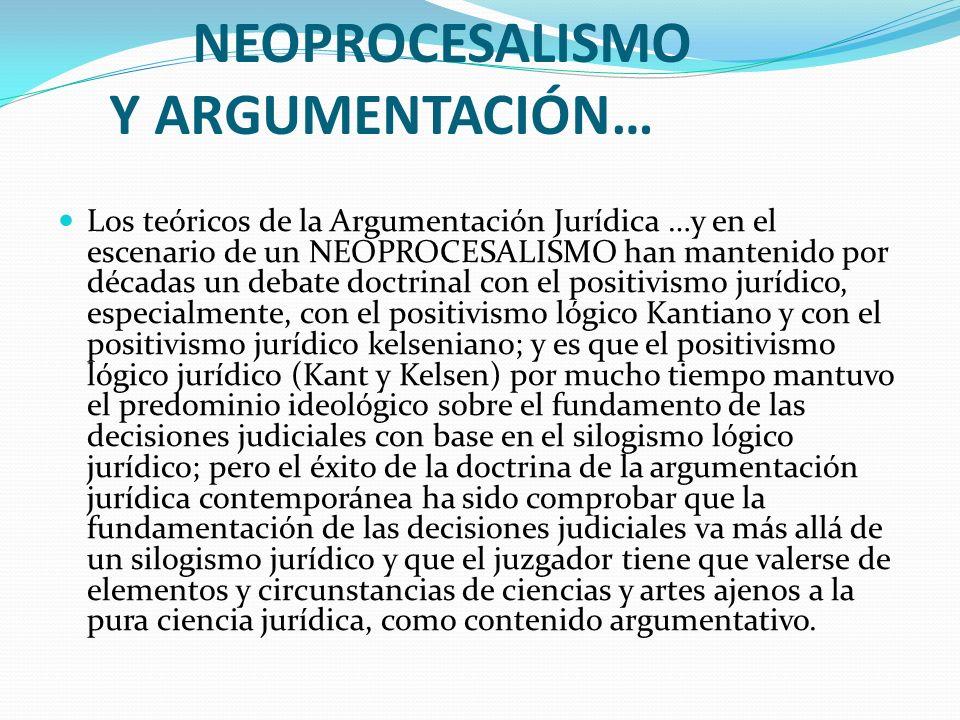 NEOPROCESALISMO Y ARGUMENTACIÓN… Los teóricos de la Argumentación Jurídica …y en el escenario de un NEOPROCESALISMO han mantenido por décadas un debat