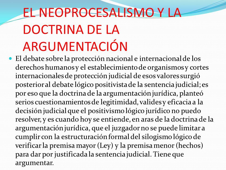 EL NEOPROCESALISMO Y LA DOCTRINA DE LA ARGUMENTACIÓN El debate sobre la protección nacional e internacional de los derechos humanos y el establecimien