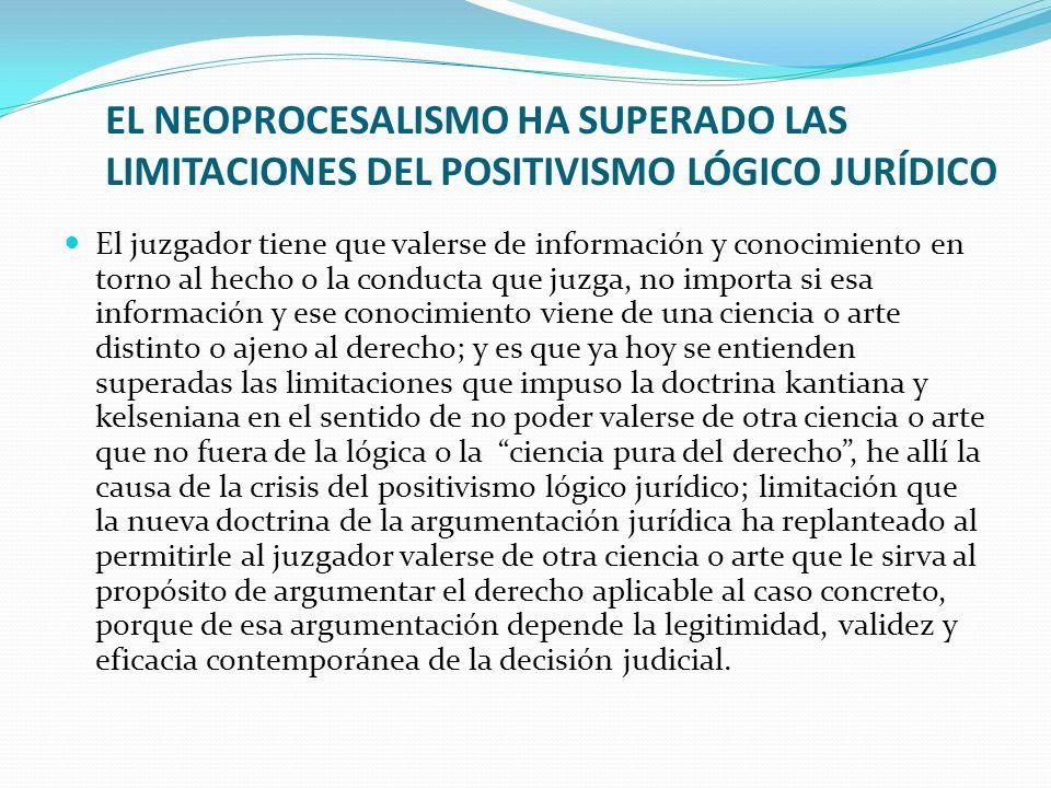 EL NEOPROCESALISMO HA SUPERADO LAS LIMITACIONES DEL POSITIVISMO LÓGICO JURÍDICO El juzgador tiene que valerse de información y conocimiento en torno a