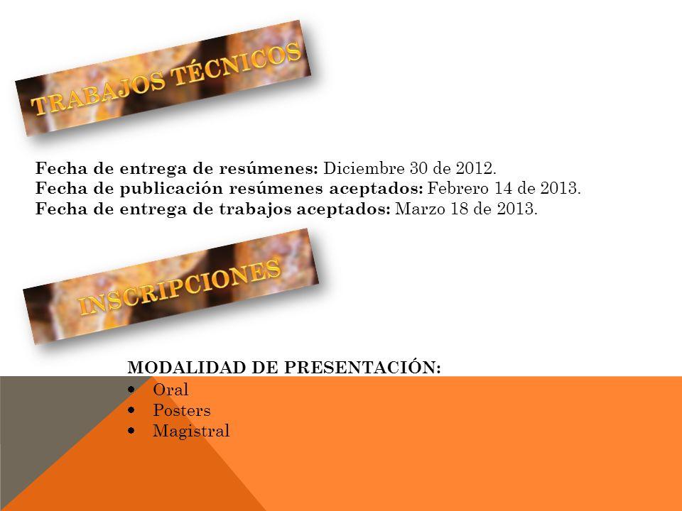 Fecha de entrega de resúmenes: Diciembre 30 de 2012. Fecha de publicación resúmenes aceptados: Febrero 14 de 2013. Fecha de entrega de trabajos acepta