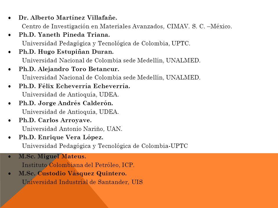 Dr. Alberto Martínez Villafañe. Centro de Investigación en Materiales Avanzados, CIMAV. S. C. –México. Ph.D. Yaneth Pineda Triana. Universidad Pedagóg