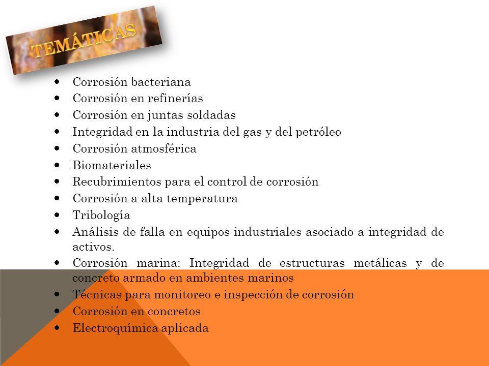 Corrosión bacteriana Corrosión en refinerías Corrosión en juntas soldadas Integridad en la industria del gas y del petróleo Corrosión atmosférica Biom