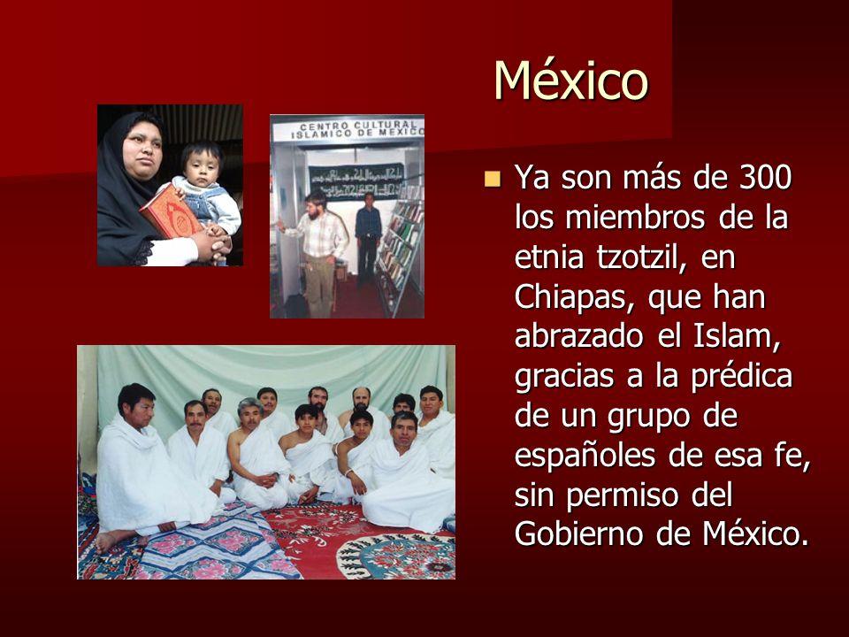 México México Ya son más de 300 los miembros de la etnia tzotzil, en Chiapas, que han abrazado el Islam, gracias a la prédica de un grupo de españoles de esa fe, sin permiso del Gobierno de México.