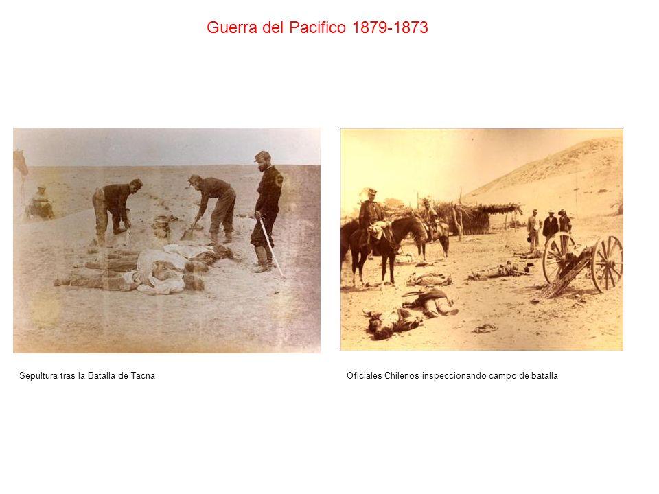 Sepultura tras la Batalla de Tacna Guerra del Pacifico 1879-1873 Oficiales Chilenos inspeccionando campo de batalla