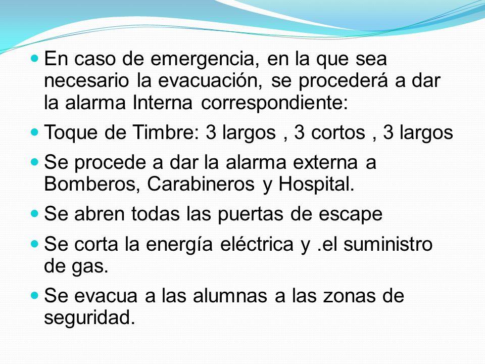 En caso de emergencia, en la que sea necesario la evacuación, se procederá a dar la alarma Interna correspondiente: Toque de Timbre: 3 largos, 3 corto