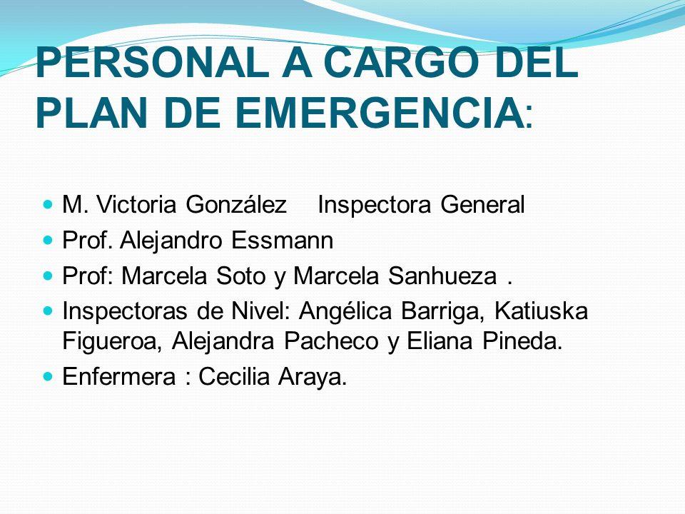 PERSONAL A CARGO DEL PLAN DE EMERGENCIA: M. Victoria González Inspectora General Prof. Alejandro Essmann Prof: Marcela Soto y Marcela Sanhueza. Inspec